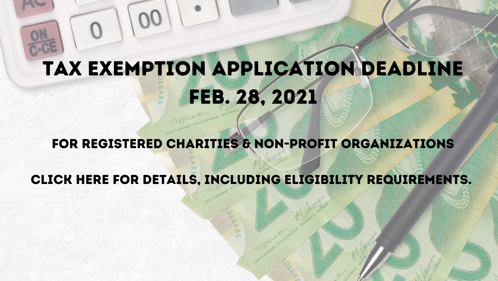 TAX EXEMPTION APPLICATION DEADLINE